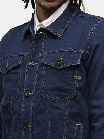Men's dark indigo denim jacket