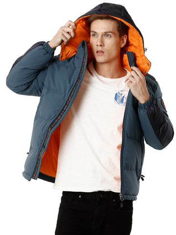 Blue Poly-Puffer Jacket with Orange Detail - VOI x CANADA
