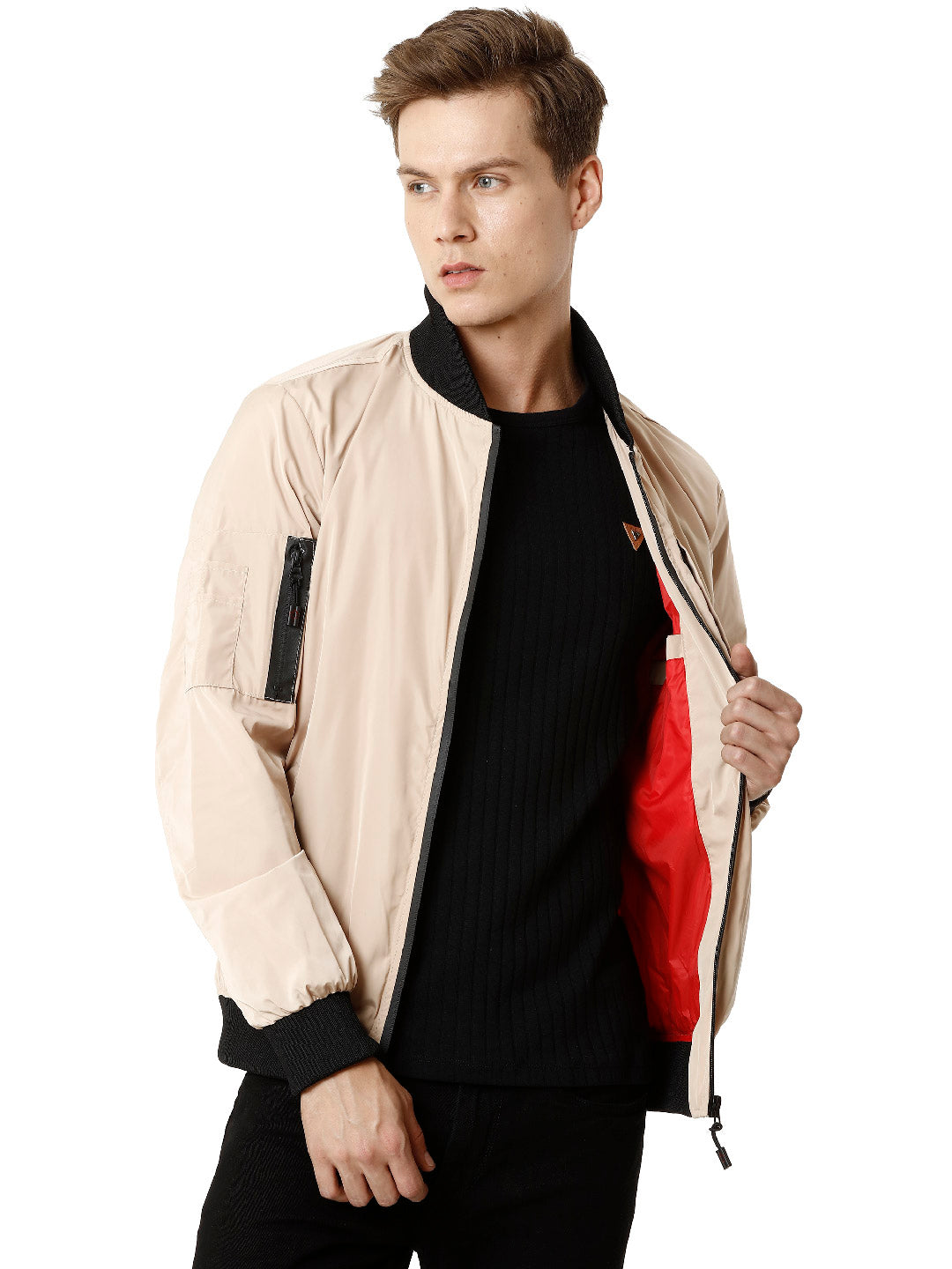 Black and Beige Bomber Men's Jacket - VOI x CANADA