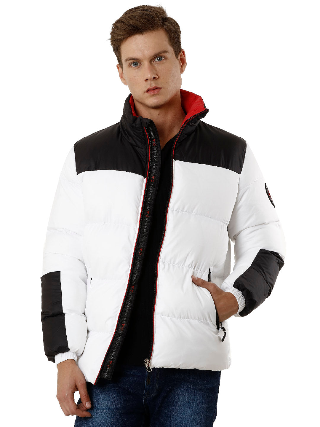 White and Black Poly-Puffer Men's Jacket - VOI x CANADA