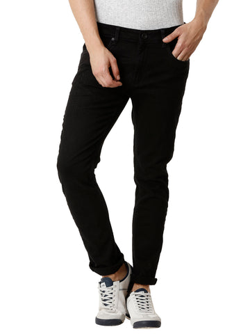 Solid Black Rinsed Men's Denim - Jeans Pant