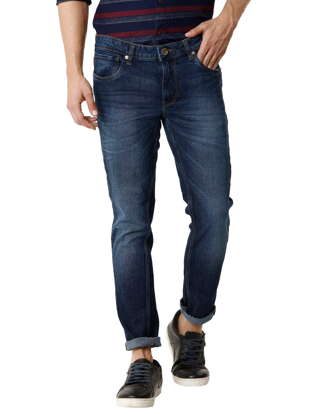 Twilled Dark Indigo Stonewashed Men's Denim - Jeans Pant