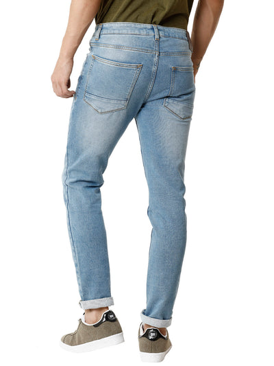 Knitted Light Blue Stonewashed Men's Denim - Jeans Pant