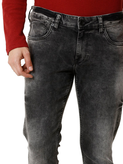 Twilled Random-Wash Grey Denim