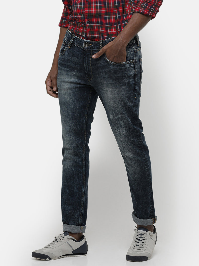 Men's Green tinted Dark indigo denim