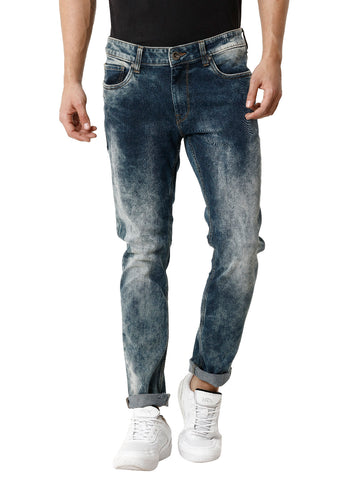 Twilled Medium-Random Stonewashed Indigo Men's Denim - Jeans Pant