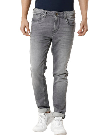 Knitted Light Grey Medium Random Stonewashed Men's Denim - Jeans Pant