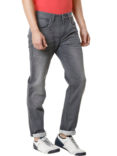 Knitted Grey Medium Stonewashed Men's Denim - Jeans Pant