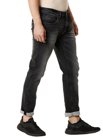 Black Medium Stonewashed Men's Denim - Jeans Pant