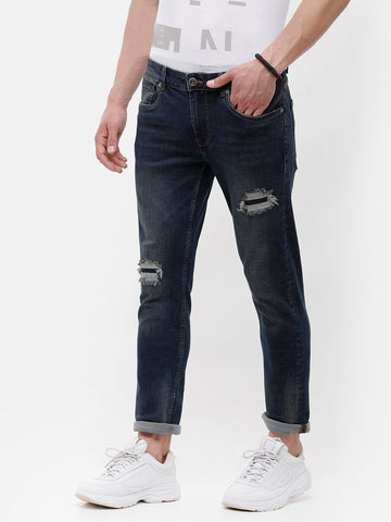 Men's Dark blue, Rip and patch detail Denim