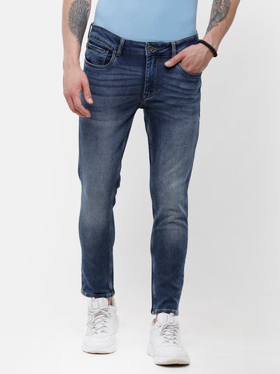 Men's Mid blue faded, knitted denim