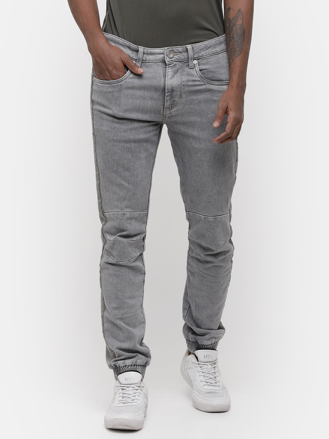 Men's Light gray Biker jogger denim