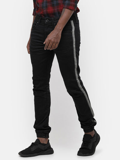 Men's Black jogger with white side tape