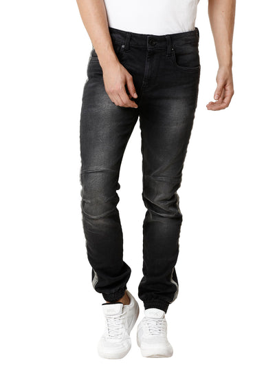 Knitted Biker Black Medium Stonewashed Taped Men's Denim - Jeans Pant