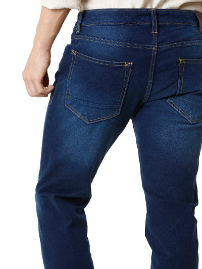 Twilled Dark Washed Indigo Men's Denim - Jeans Pant
