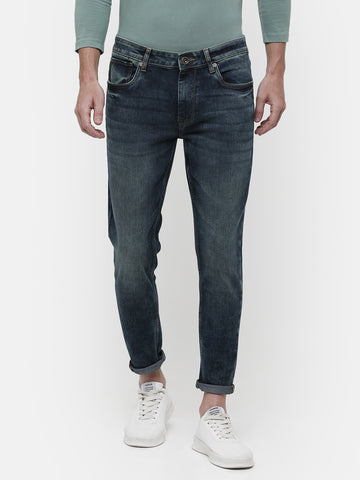 Men's Mid-washed crop denims