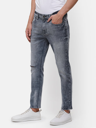 Men's Gray Denim with Knee Cut detail