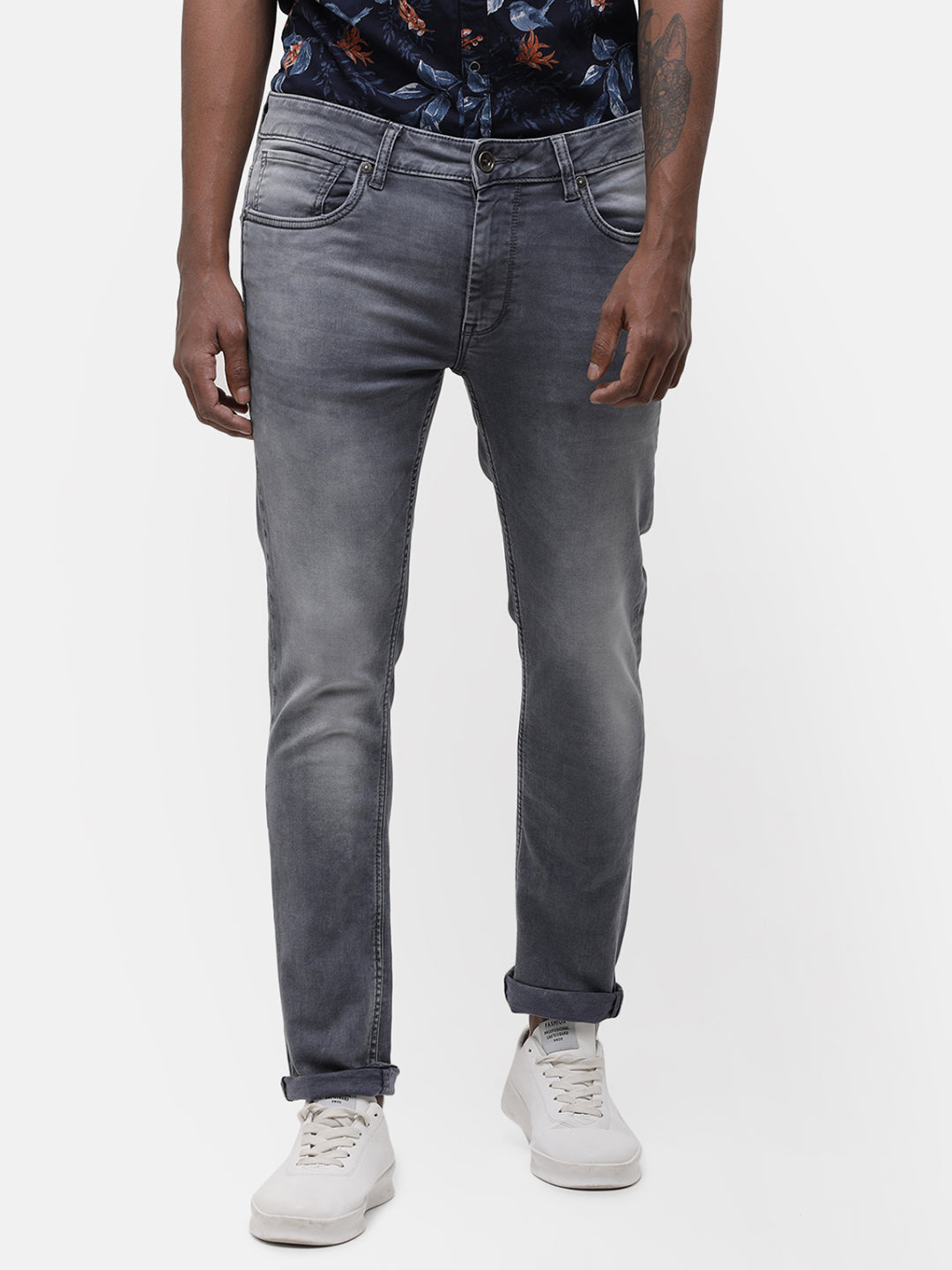 Men's light-mid gray faded denim