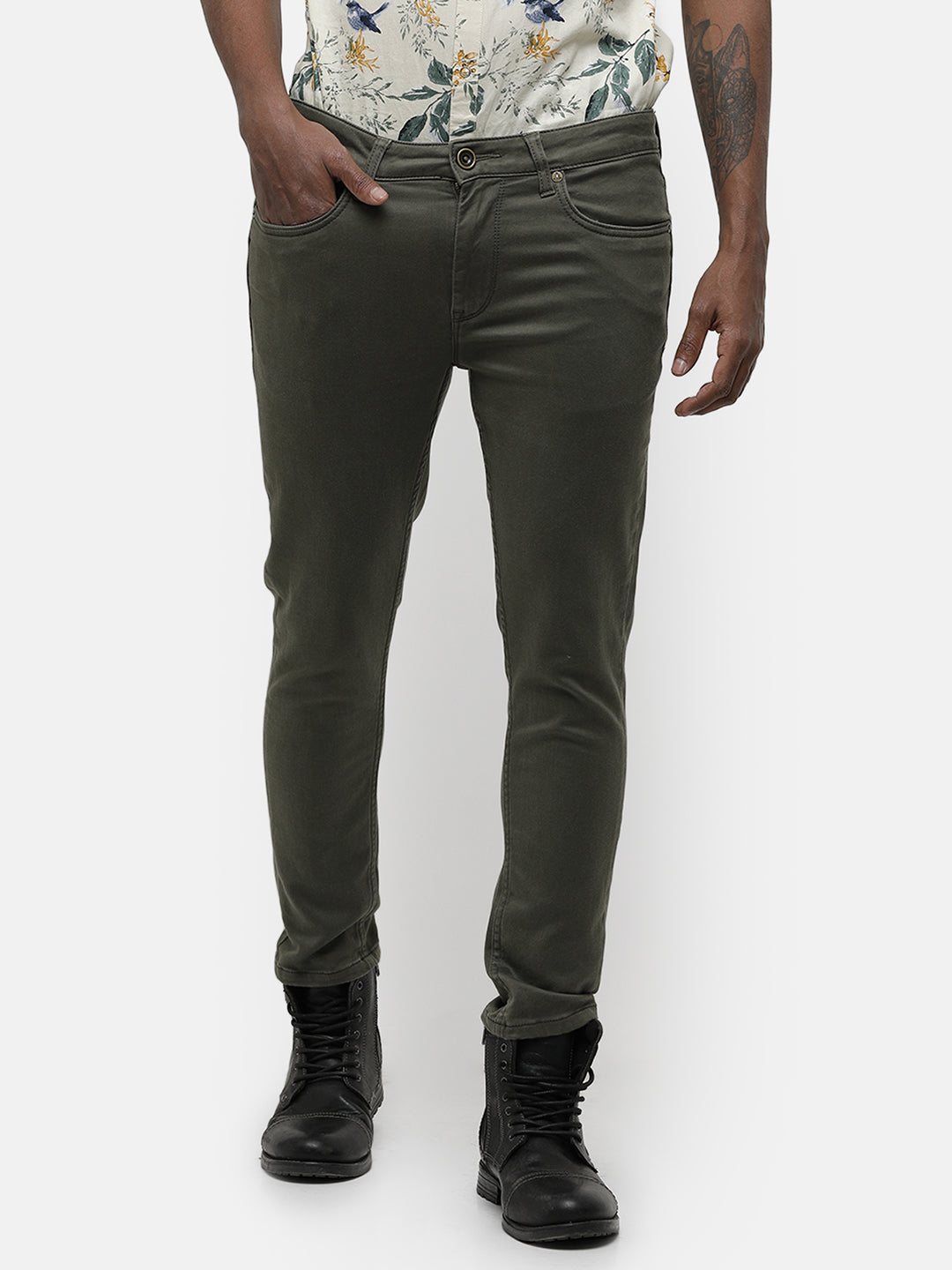 Men's Olive green tapered fit denim