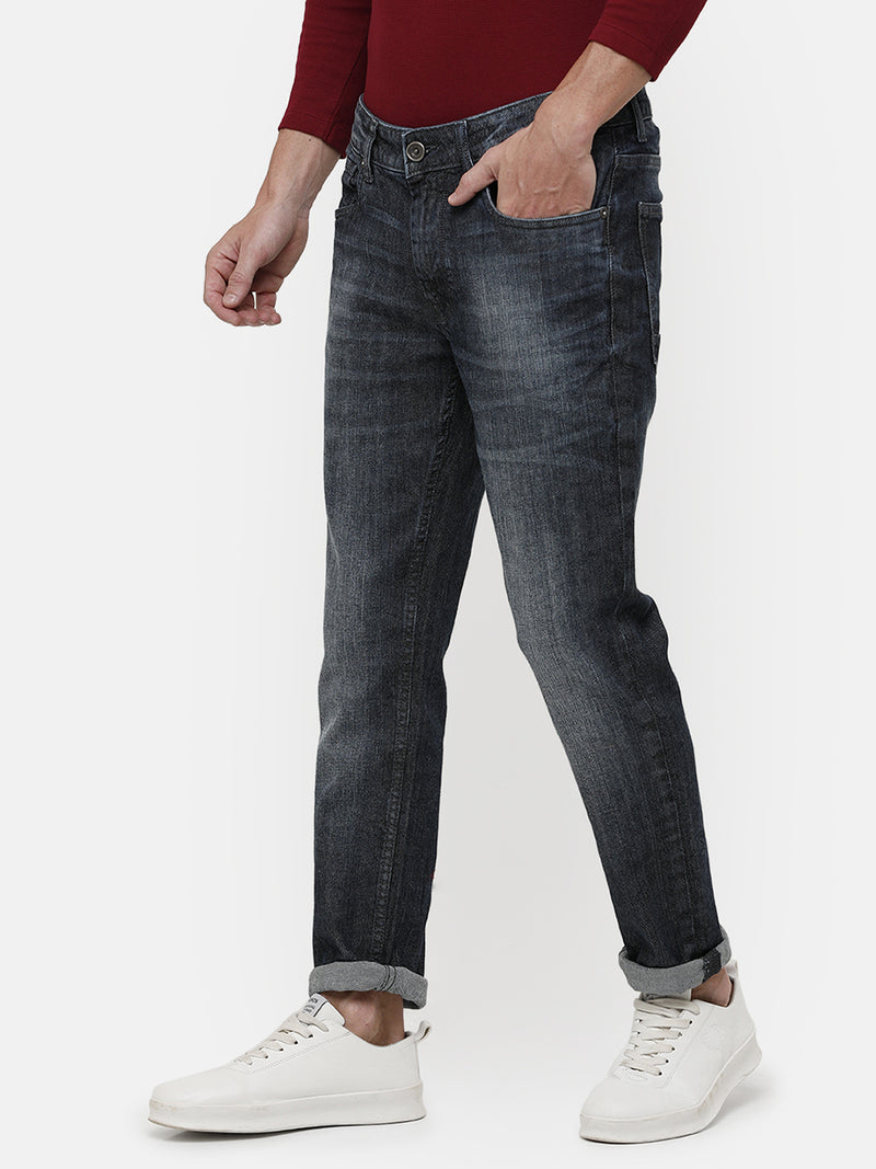 Men's dark-indigo faded denim