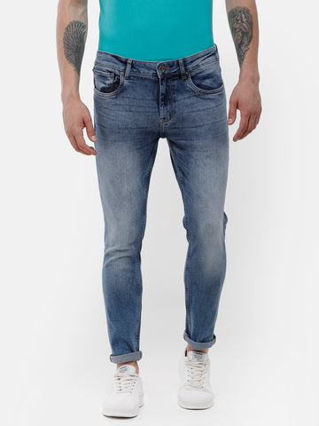 Men's Mid blue faded, stone wash denim