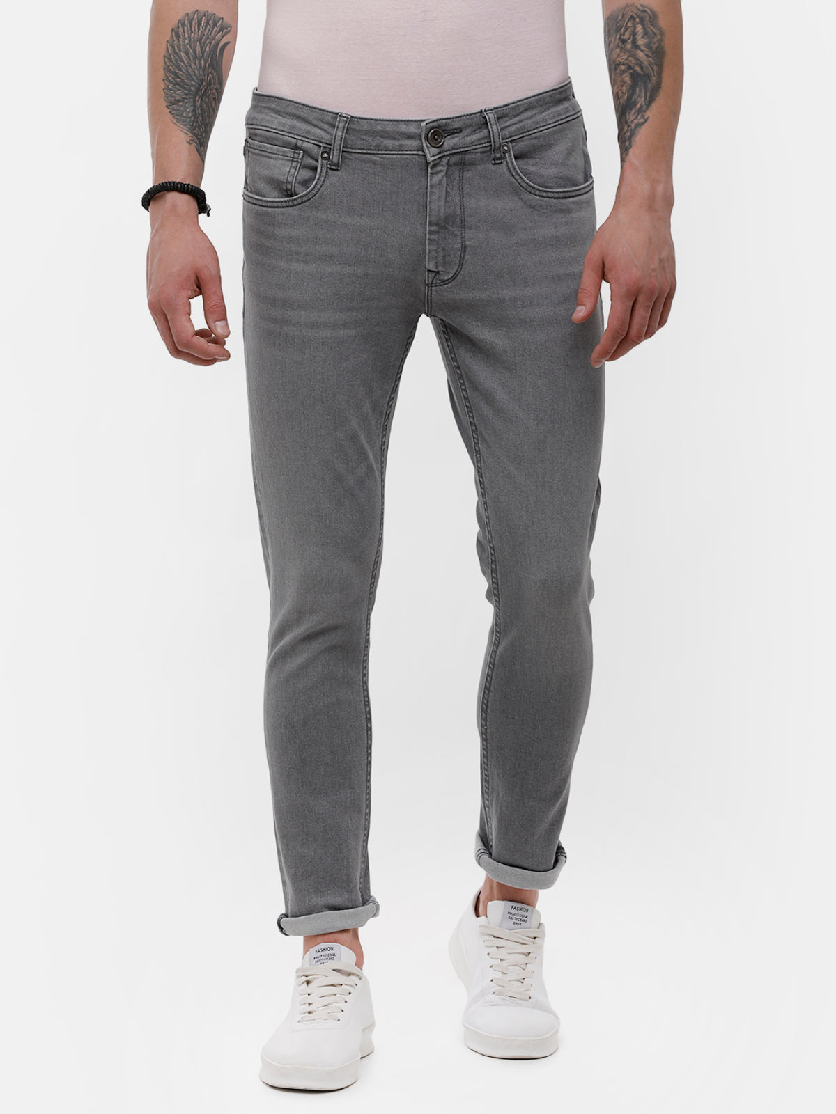 Men's gray faded denim