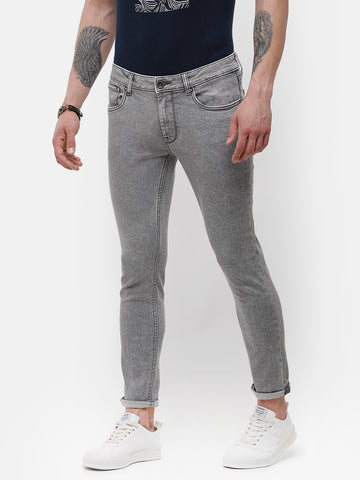 Men's gray stone wash denim