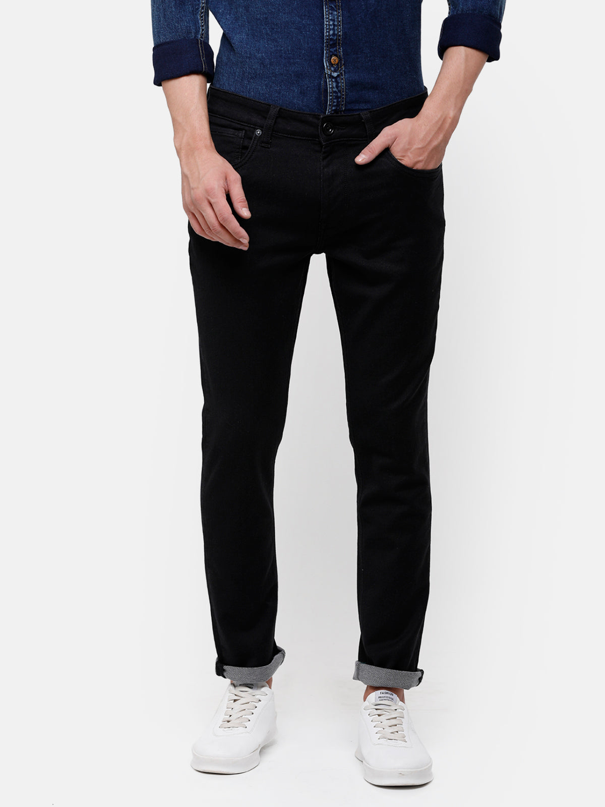 Men's Black Tapered Denim