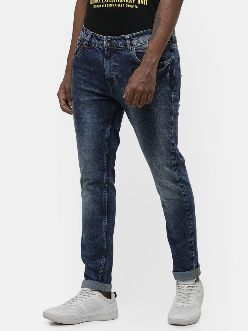Men's mid blue faded denim