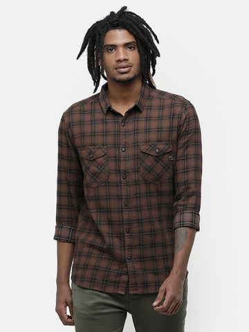 Indigo Yarn Dyed Brown Melange Shirt