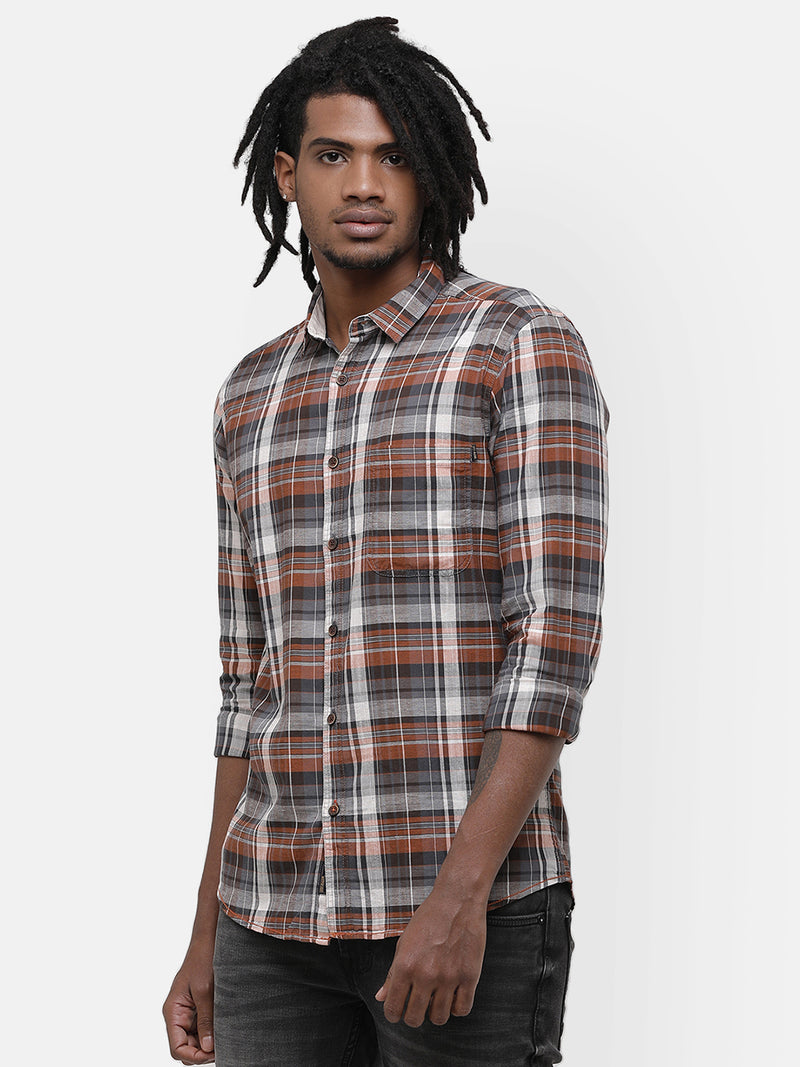 Brown yarn-dyed shirt