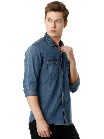 Mid-Blue Western Denim Men's Full Sleeve Shirt