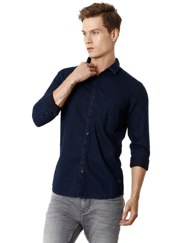 Dark Indigo Over Dyed Denim Men's Full Sleeve Shirt