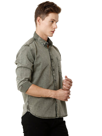Olive Textured Voi Full-Sleeve Shirt