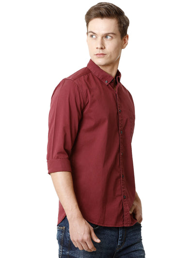 Plain Maroon Red Voi Full-Sleeve Shirt