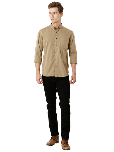 Khaki Over Dyed Men's Full Sleeve Shirt
