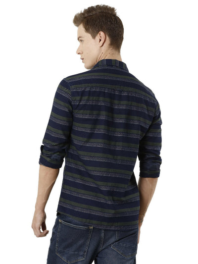 Indigo Yarn Dyed Horizontal Stripper Denim Men's Full Sleeve Shirt