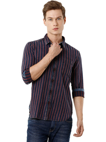 Indigo and Maroon Yarn Dyed Stripper Men's Full Sleeve Shirt