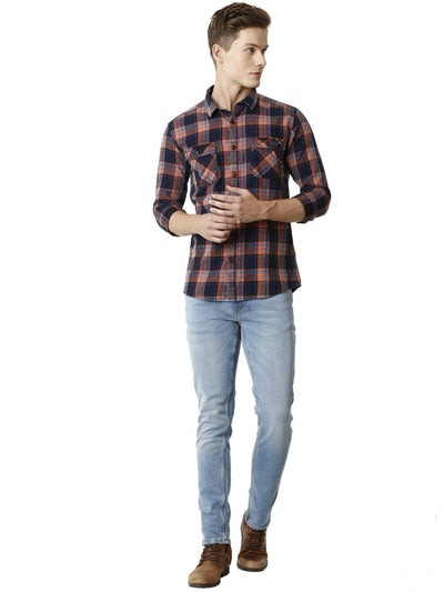 Red Indigo Yarn Dyed Checkered Men's Full Sleeve Shirt