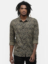 Men's Olive printed casual shirt