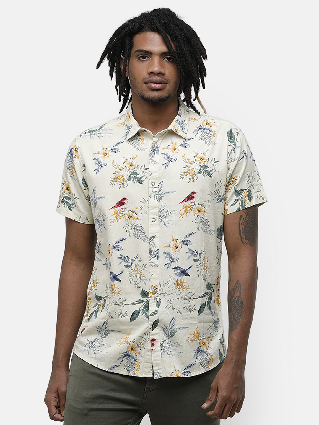 Men's Yellow floral half sleeve Reversible Shirt.
