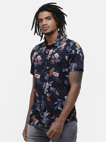 Men's Navy floral print casual half sleeve Reversible Shirt