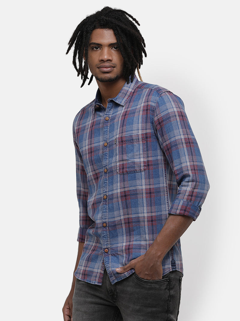 Men's Blue-Pink multi-tone checks shirt