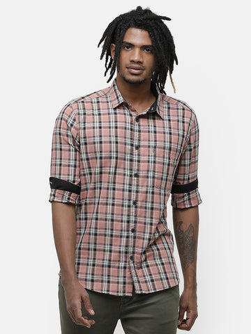Men's Orange and navy checks full sleeve shirt