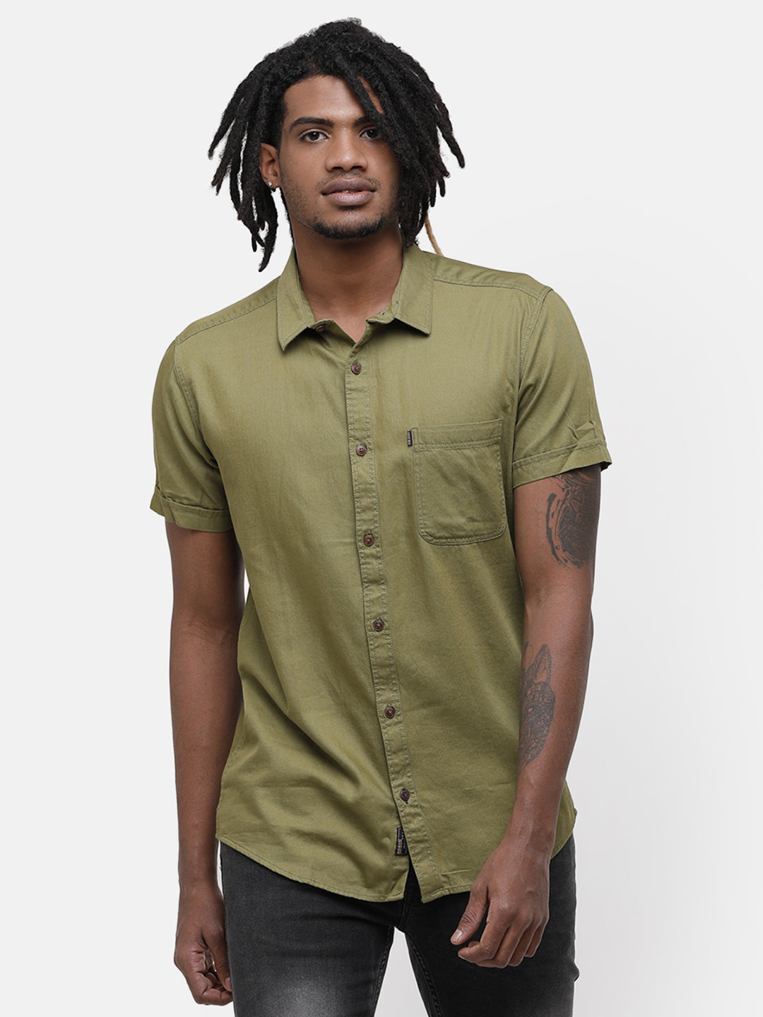 Men's Olive green half sleeve shirt