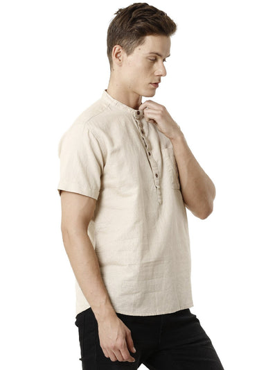 Khaki Mao Collar Linen Men's Half Sleeve Shirt
