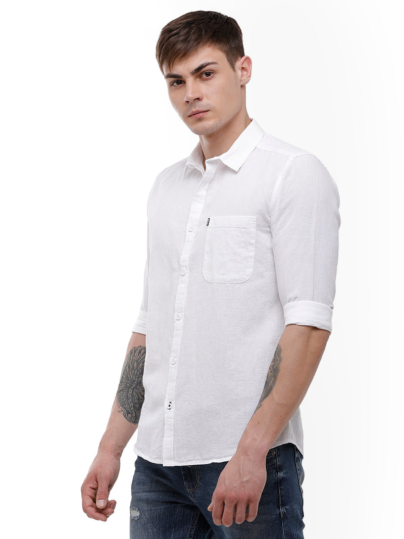 Men's White linen full sleeve casual Shirt
