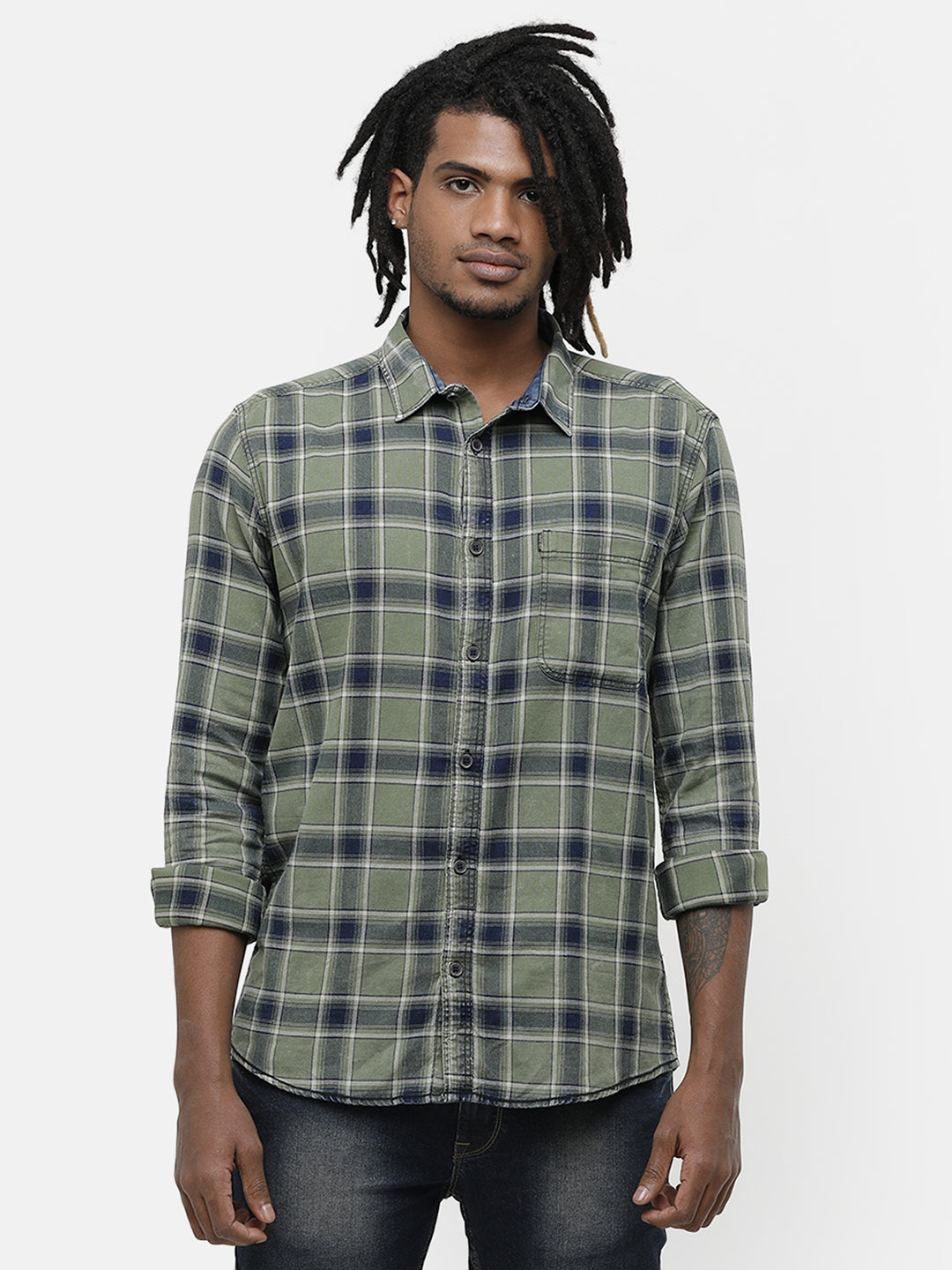 Men's Light Green checks full sleeve casual shirt