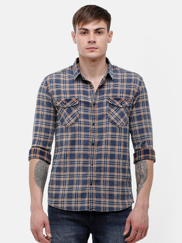 Men's Indigo blue and beige checks Shirt