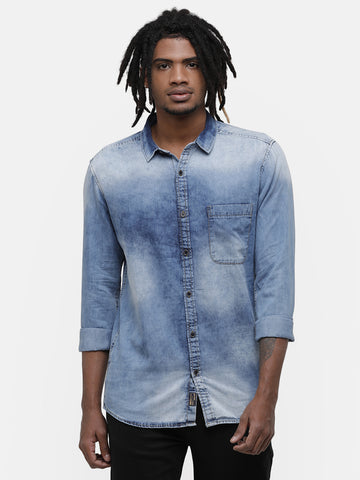 Men's Faded indigo denim shirt